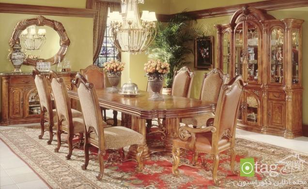 مدل میز ناهار خوری سنتی و کلاسیک در دکوراسیون اتاق غذاخوری